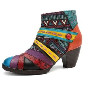 NWT Socofy Colorful Stripes Zipper Leather Boots